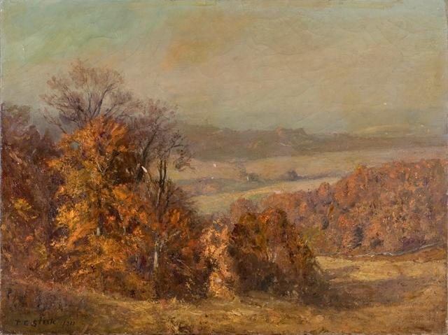 famous painting Hilly Wooded Landscape of Theodore Clement Steele