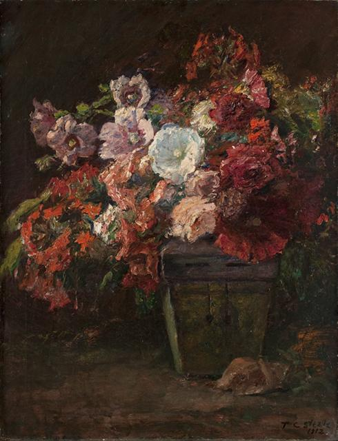 famous painting Hollyhocks (Vase of Flowers of Theodore Clement Steele