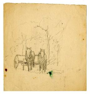 Theodore Clement Steele - horses and wagon sketch
