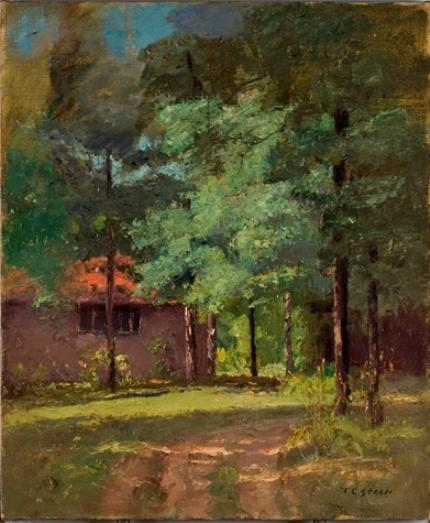 famous painting House Among Tall Trees (View of the Studio) of Theodore Clement Steele