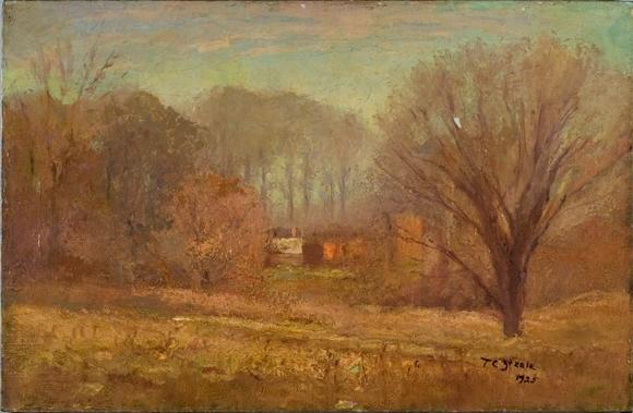 famous painting House in the Evening Mist of Theodore Clement Steele