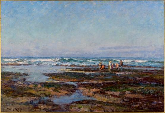 famous painting Hunting Rock Oysters (The Oregon Coast) of Theodore Clement Steele
