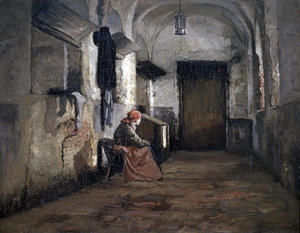 Theodore Clement Steele - Interior of Cloister