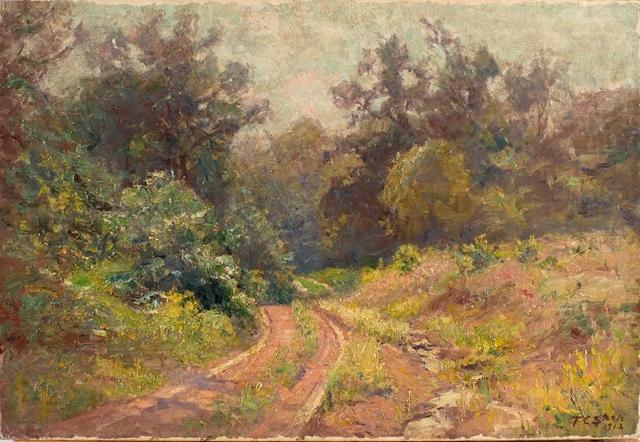 famous painting Into the Woods (Mid Summer, The Road) of Theodore Clement Steele