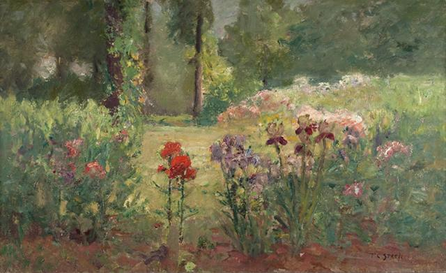 famous painting Iris and Trees (In the Flower Garden) of Theodore Clement Steele