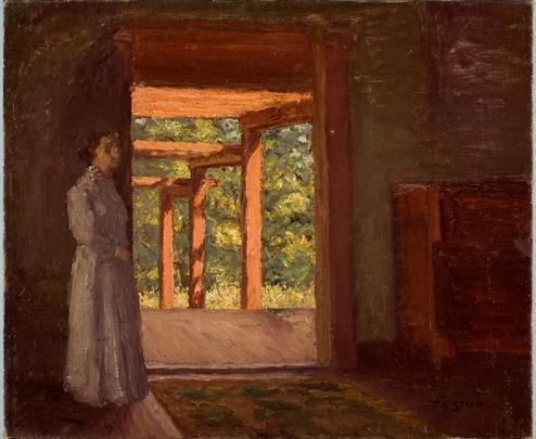 famous painting Lady in the Doorway of Theodore Clement Steele