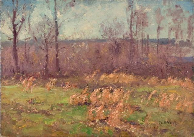 famous painting Landscape (A Gray Day in the Orchard) of Theodore Clement Steele