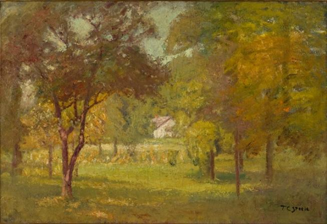 famous painting Landscape and White Cottage of Theodore Clement Steele