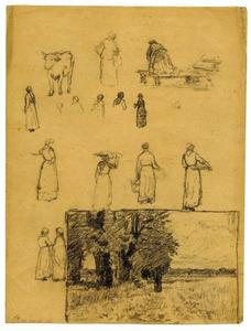 Theodore Clement Steele - Landscape sketch and figure studies