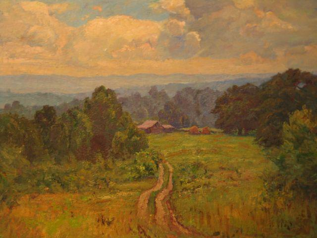 famous painting Landscape with Barn (Road to Cottage) of Theodore Clement Steele