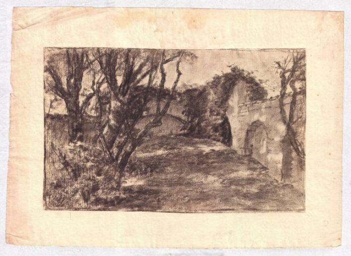 famous painting Landscape with stone wall of Theodore Clement Steele
