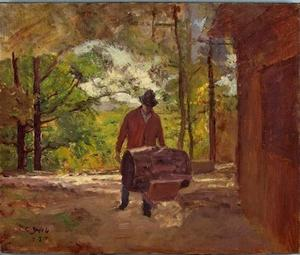 Theodore Clement Steele - Man with a Wheel Barrow