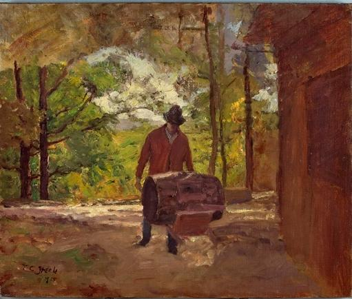 famous painting Man with a Wheel Barrow of Theodore Clement Steele