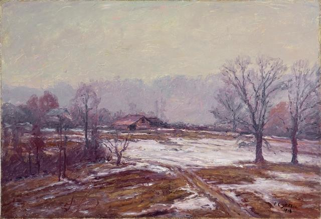 famous painting Melting Snow (A Snowy Day) of Theodore Clement Steele