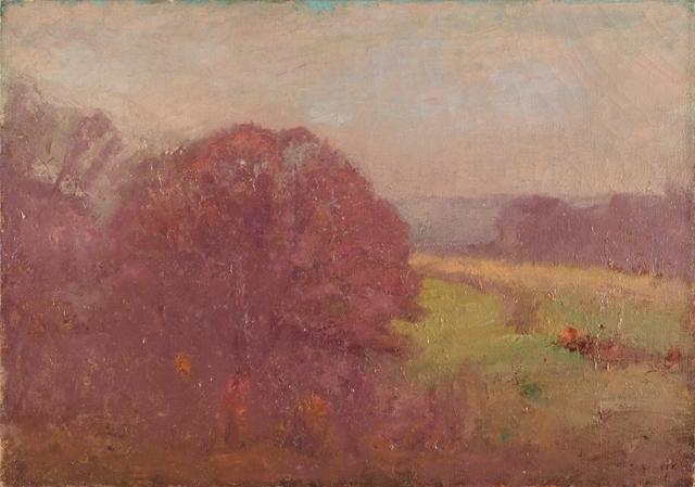 famous painting Morning in Early Autumn (Oaks in Autumn) of Theodore Clement Steele