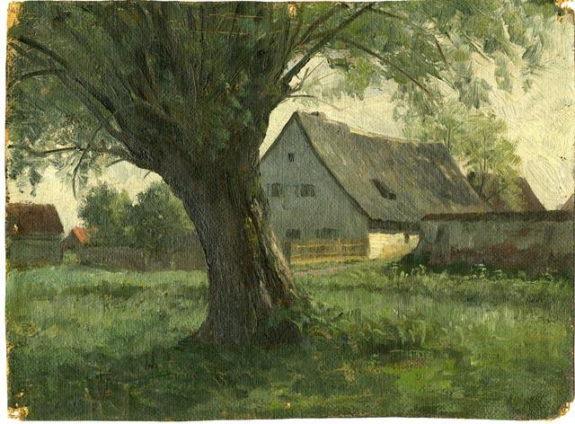 famous painting Painting Study Large Tree and Farm of Theodore Clement Steele