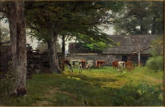 famous painting Pastoral (Cows by the Barn) of Theodore Clement Steele