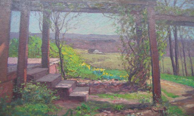 famous painting Pergola in Early Spring of Theodore Clement Steele