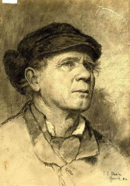 famous painting Portrait of a Man Wearing a Cap of Theodore Clement Steele