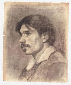Theodore Clement Steele - Portrait of a Young Man with Moustache
