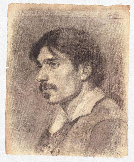 famous painting Portrait of a Young Man with Moustache of Theodore Clement Steele