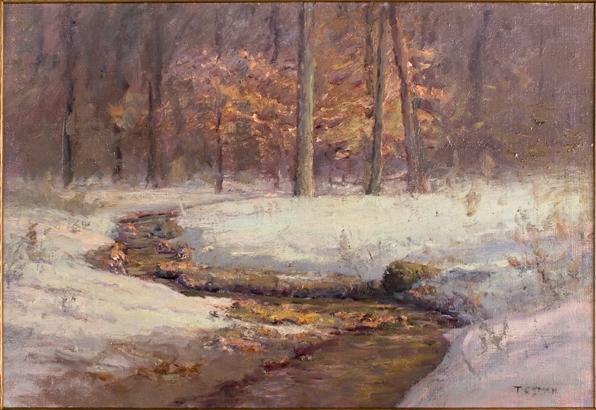famous painting Ravine in Winter (Morning Stream in Snow) of Theodore Clement Steele
