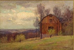 Theodore Clement Steele - Red Barn and Trees