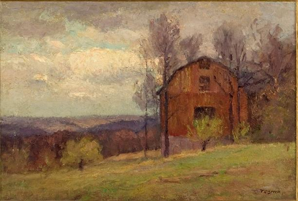 famous painting Red Barn and Trees of Theodore Clement Steele