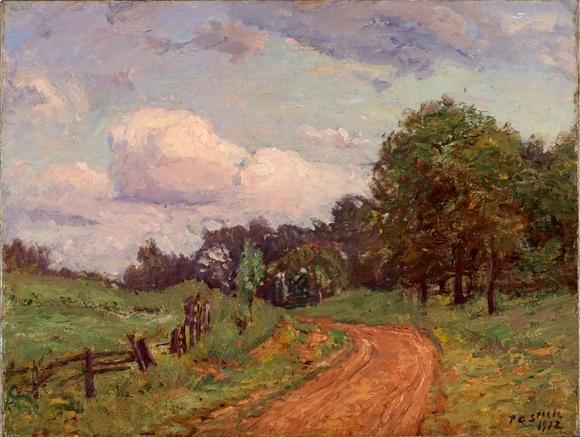 famous painting Road by the Woods of Theodore Clement Steele