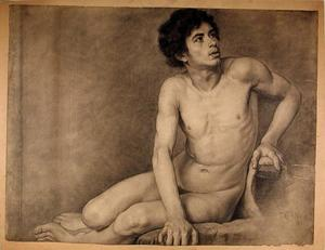 Theodore Clement Steele - Seated Male Academy Figure