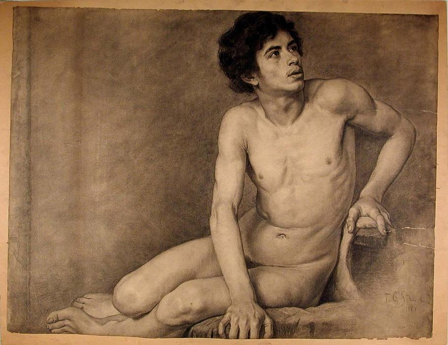 famous painting Seated Male Academy Figure of Theodore Clement Steele
