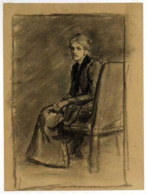 famous painting Seated older woman of Theodore Clement Steele