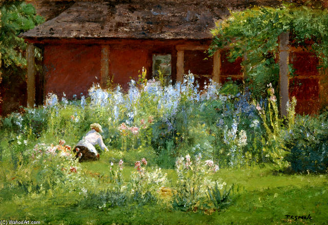 famous painting Selma In The Garden (Flower Garden) of Theodore Clement Steele