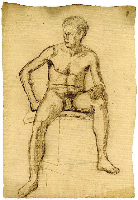 famous painting Sketch of male nude of Theodore Clement Steele