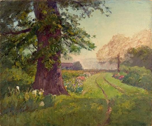 famous painting Spring Scene (Oak and Flowers) of Theodore Clement Steele