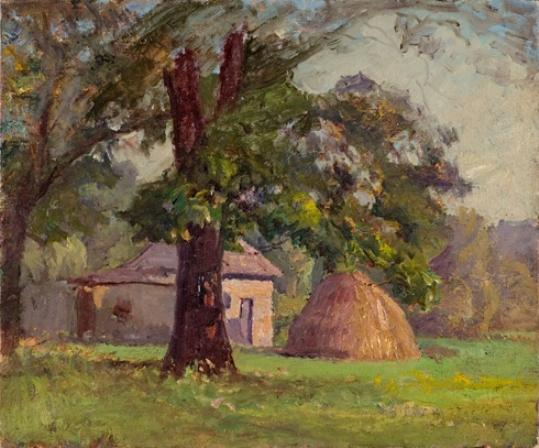 famous painting Stable and Haystack (A Haystack) of Theodore Clement Steele