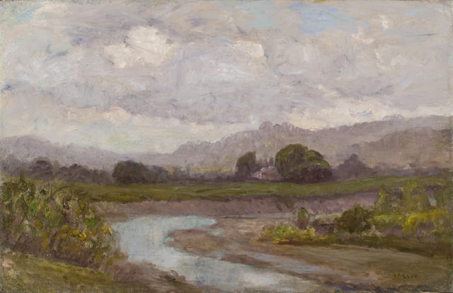 famous painting Stream by the Pasture of Theodore Clement Steele