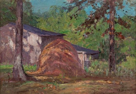 famous painting Sunlight and Shadows (The Haystack) of Theodore Clement Steele