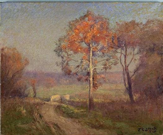 famous painting Sycamores, Autumn (An Autumn Day) of Theodore Clement Steele