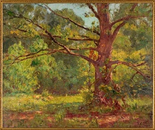 famous painting The Big Oak (The Oak in Springtime) of Theodore Clement Steele