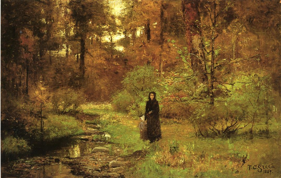 famous painting The Brook in the Woods of Theodore Clement Steele