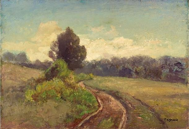 famous painting The Open Road (Late Afternoon, Road to the Cabin) of Theodore Clement Steele