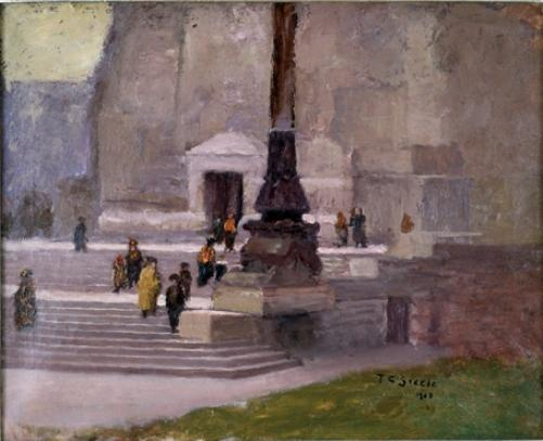 famous painting The Steps of the Monument, Indianapolis of Theodore Clement Steele