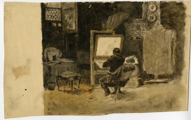 famous painting Tonal Sketch of Artist in Studio of Theodore Clement Steele