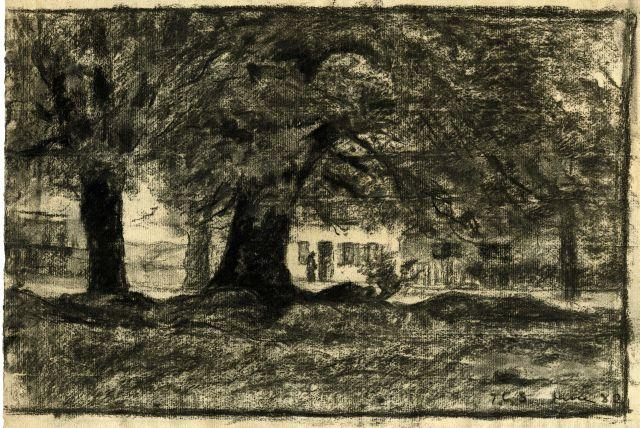 famous painting Trees and a house of Theodore Clement Steele