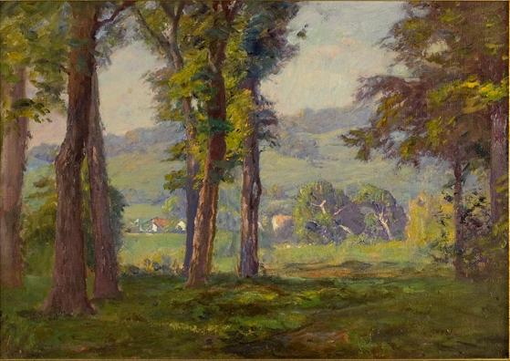famous painting Trees and Buildings, Brookville of Theodore Clement Steele