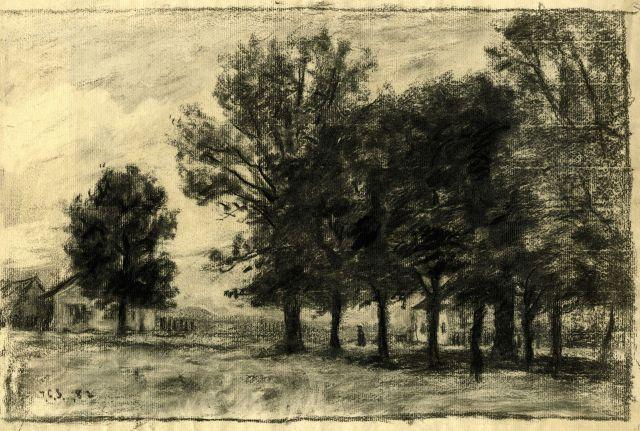 famous painting Trees and houses of Theodore Clement Steele