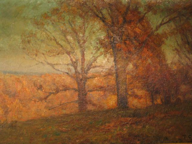 famous painting Trees in the Hills (Autumn Landscape) of Theodore Clement Steele