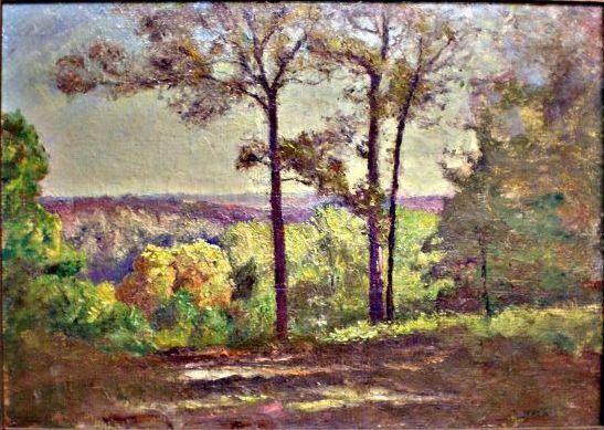 famous painting Trees on the Hill of Theodore Clement Steele