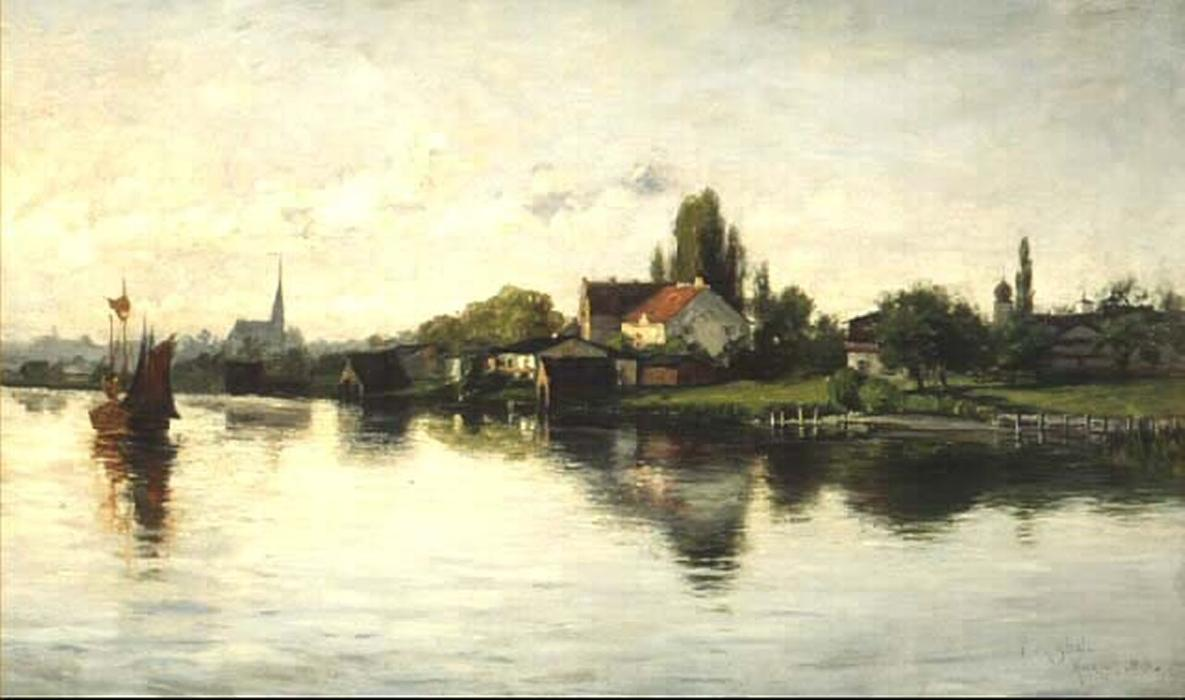 famous painting Village of Schliersee, Highlands of Theodore Clement Steele
